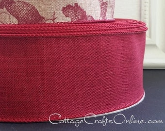 "Fall Wired Ribbon, 2 1/2"", Burgundy Faux Linen - THREE YARDS  - Offray ""Divine"" Chrsitmas, Thanksgiving, Wedding Ribbon, Wire Edged Ribbon"