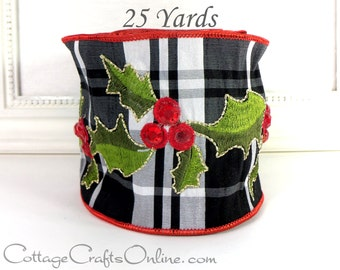 """Christmas Wired Ribbon 4""""  Red Jeweled Holly on Black White Silver Faux Silk Plaid, TWENTY FIVE YARDS,  d. Stevens, """"Jeweled Holly"""""""