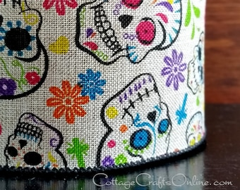 "Halloween Wired Ribbon, 1 1/2"", Patterned Skulls, Multi-color Flowers, Tan Linen - TEN YARD ROLL - ""Day of the Dead Linen"" Wire Edged Ribbon"