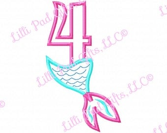 Mermaid Tail - 4 - Applique - Machine Embroidery Design - 8 sizes