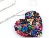 Fireworks Glitter Heart Pendant Necklace