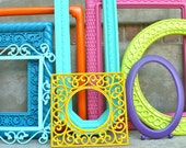 Bright and Colorful Ornate Picture Frame Set Collection Pink Orange Yellow Purple Teal Blue Lime Green Mint Seafoam
