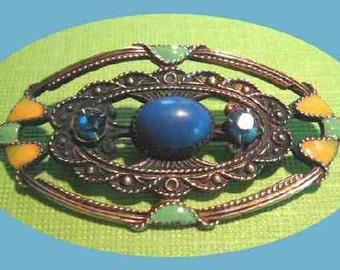 Art Deco Brooch Bar Pin Oval Enamel-work Jewels Copper tone