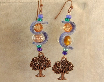Leather, Glass, and Metal Earrings - LE48