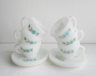 Vintage Fire King Boutonniere Cups & Saucers, Set of 6, Aqua Flowers on White Glass Teacups