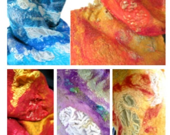 Nuno Felted Scarf Tutorial, Nuno Felting Tutorial and Videos, Learn To Felt, Learn To Nuno Felt, Nuno Felting Tutorial, Nuno Felted Scarf