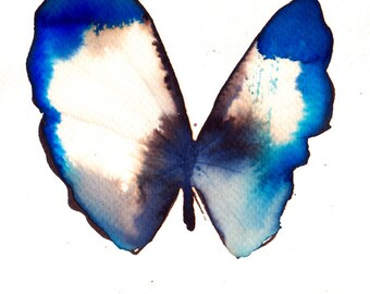 ultramarine blue and white gold butterfly original watercolour painting