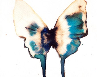 turquoise white gold and black butterfly original watercolour painting
