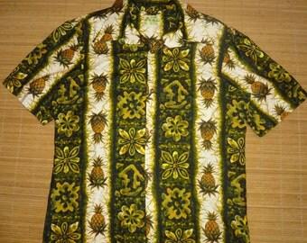 Mens Vintage 60s ui Maikai Wild Pineapple Hawaiian Aloha Shirt - M - The Hana Shirt Co