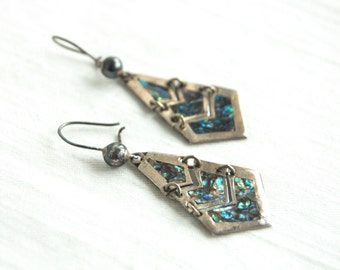 Mexican Dangle Earrings Chevron Geometric Dangles Vintage Reticulated Modern Jewelry