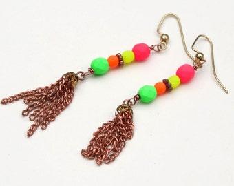 Handmade Earrings - Vintage Copper Tassel and Neon Beads - EPSTeam