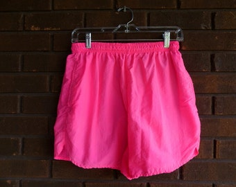 Vintage 80s Neon Pink Shorts High Waist High Waisted 80s Clothing Athletic Swim Track Shorts Activewear Swishy / Waist 26 28 30 / S M