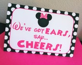 "1 Large 5x7 Minnie Mouse Tent Card - ""We've Got Ears, Say Cheers"""