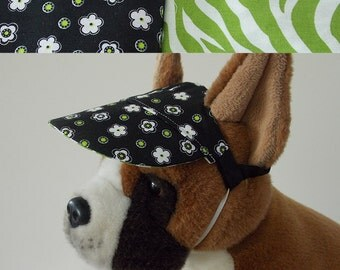 Dog visor, reversible (two fabrics), comfortable and colorful. V10   Can be personalized.