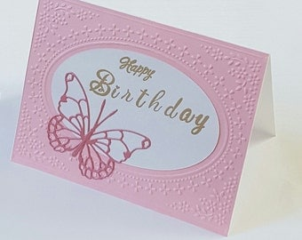 """Birthday Card, Pink butterflies, Embossed Card Front, Size A2, 4 1/4"""" X 5 1/2"""""""