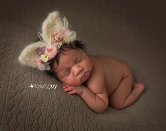 bunny ears tie back,headband,knitted props,animal ears prop