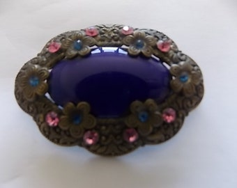 Vintage Antique Czech Blue Glass Pink Brooch Pin Neiger- LOVELY