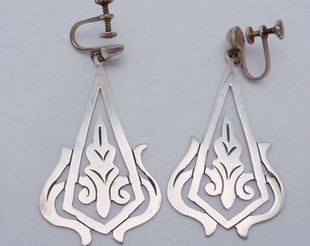 Vintage Taxco Mexico Mexican Sterling Silver Dangle Long Earrings 22103