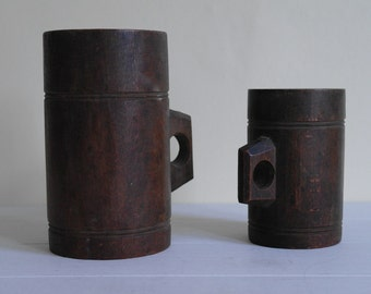 Corn Chandlers Pulse Measures, Two Wooden Tankards, Circa 1900