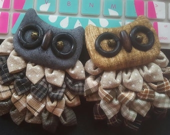 Handmade Owl brooch.Owl pin brooches