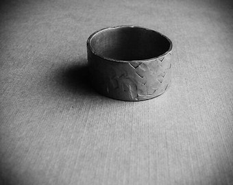 Cubic Texture Silver Tone Ring