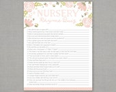 Nursery Rhyme Quiz - Baby Shower Game - Floral