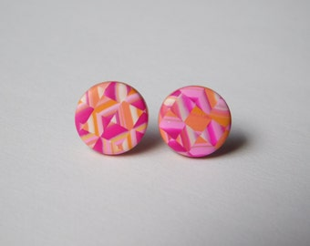 11 MM stud earrings, small pink and orange studs, polymer clay jewelry