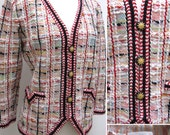 RESERVED Vintage 1980s Adolfo at Saks Fifth Avenue Multicolor Boucle Knit Blazer