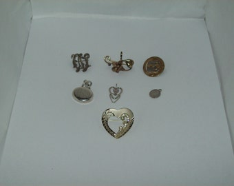 Sterling Silver Pendant lot with 1 Military Gold and Sterling Pin