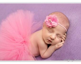 Newborn Tutu Set, Pink Tutu, Flower Headband, Baby Girls Photo Prop, Ready To Ship