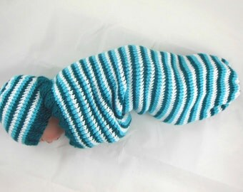 Cocoon, Sleep Sack, Sleep Bag, Blanket in Turquoise, Teal, & White Stripes