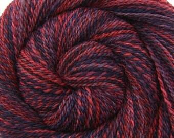 Handspun Yarn - POISONED APPLE - Handpainted Masham wool, 2 ply Worsted weight, 220 yards