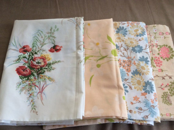 White Shabby Chic Pillow Cases : 4 Floral Pillow Cases Shabby Chic Cottage Blue Peach