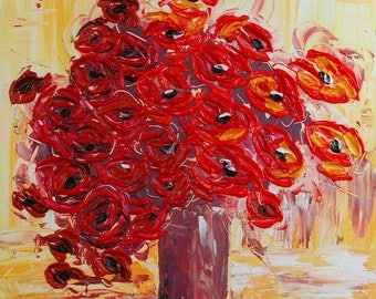 Poppies Bouquet Flowers Impasto heavy texture ORIGINAL Painting Fine Art Wall Palette knife oil Pretty Great red Colors gift idea by IraSher