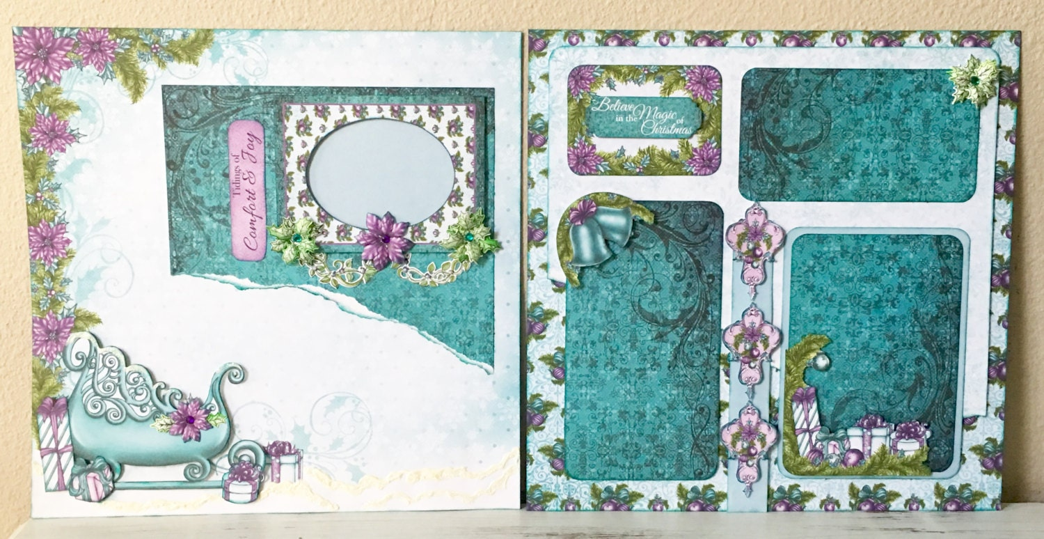 How to add scrapbook pages - Premade Scrapbook Pages Layout 12x12 Inch Size For Your Scrapbook Album Just Add Photos Or I Can Add Them For You Celebrate The Season