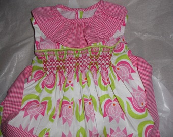 Size 18 Months, Smocked Baby Girl Bubble, Pink Tulips Cotton Fabric