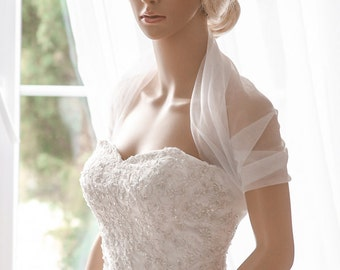 Bridal Wrap, Wedding Cover Up, Wedding Shrug, Bridal Bolero in silk, tulle white or ivory bridal shawl. Can be worn two ways!