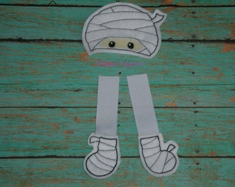 Embroidered Mummy Oversized Feltie  - Halloween Felt - Great for Hair Bows or Crafts -  White with wrapped design, Head, feet and legs
