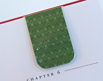 Bookmark Magnetic Laminated Green Chevron Glitter Flowers Love Pattern Design Teacher Mother Unique Gift Christmas Holiday Ready To Ship