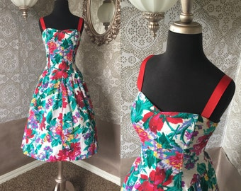 Vintage 1980's Bright Floral Cotton Dress S/M