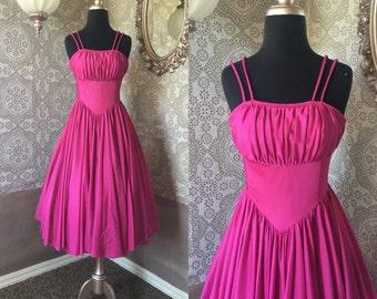 Vintage 1970's Magenta Pink  Disco Sundress XXS