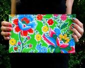 Green Retro Floral Oilcloth Bag