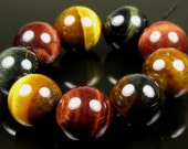 Chatoyant Beautiful Golden Yellow / Blue / Red Tiger Eye Round Bead - 12mm - 9 beads - B5300