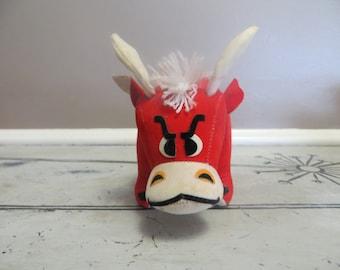 Tabasco The Bull Dakin Dream Pets Vintage Bull Stuffed Toy Red Bull Felt Toy Animal