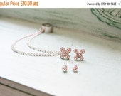 VALENTINES DAY SALE Silver Flower Chain Ear Cuff Earrings Set