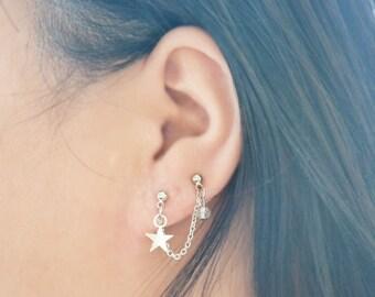 Silver Star Double Pierce Lobe Cartilage Earring (Single-Side)
