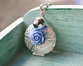 Periwinkle Rose Locket Silver Filigree Essential Oil Diffuser Customized Photo Necklace