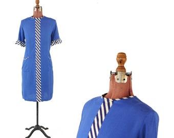 Vintage 1960's Soft Blue Rayon Mod Ruffle Sleeves Navy + White Pin Stripe Shift Scooter Dress M