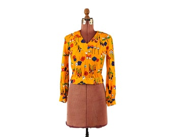 Vintage 1970's Bright Orange Floral + Butterfly Mod Novelty Print Mini Hippie Long Sleeve Crop Top S