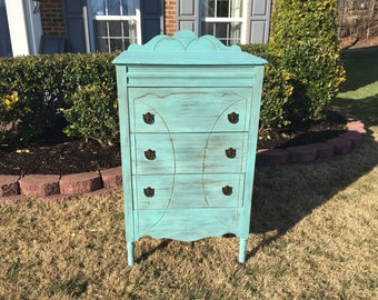 SOLD ** Vintage Chic and Shabby Beachy Aqua Tall Dresser / Chest of Drawers